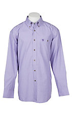 Wrangler George Strait Men's Purple Gingham L/S Western Shirt