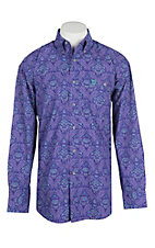 George Strait by Wrangler Purple Paisley Print Western Shirt