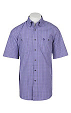 Wrangler George Strait Men's Purple Plaid S/S Western Shirt