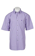 Wrangler George Strait Men's Purple Mini Plaid S/S Western Shirt