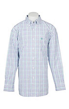 Wrangler George Strait Men's White, Green and Purple Grid L/S Western Shirt