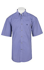 Wrangler George Strait Men's Purple and White Mini Diamond Print S/S Cavender's Exclusive Western Shirt - Big & Tall