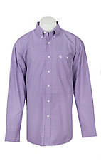 George Strait by Wrangler Men's Purple Geo Print Western Shirt