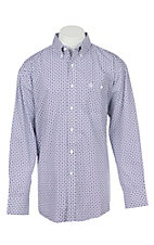 George Strait by Wrangler Men's Purple Geo Print Long Sleeve Western Shirt