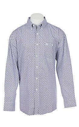 George Strait by Wrangler Men's Purple Geo Print Long Sleeve Western Shirt