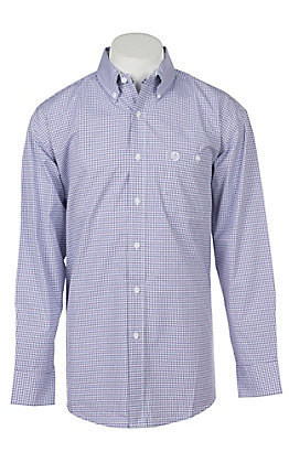 George Strait by Wrangler Men's Purple Plaid Long Sleeve Western Shirt