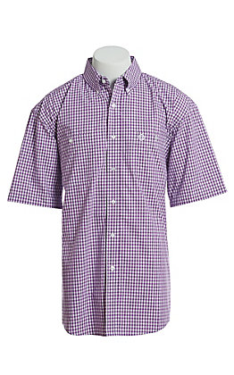George Strait by Wrangler Men's Purple And White Checkered Plaid Short Sleeve Western Shirt