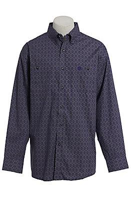 George Strait by Wrangler Men's Purple Medallion Print Long Sleeve Western Shirt