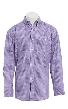 George Strait by Wrangler Men's Purple Print Long Sleeve Western Shirt