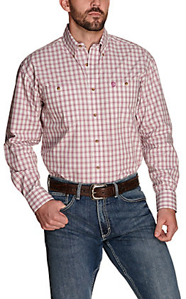 Wrangler George Strait Men's White with Purple Plaid Performance Relaxed Long Sleeve Western Shirt