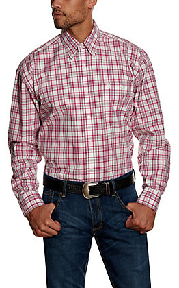 Wrangler George Strait Men's Pink Plaid Long Sleeve Western Shirt