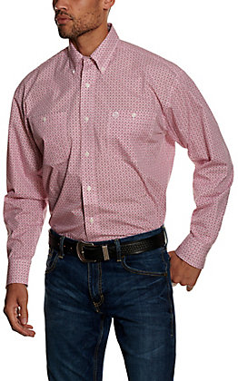 Wrangler George Strait Men's Magenta Geo Print Long Sleeve Western Shirt - Big & Tall