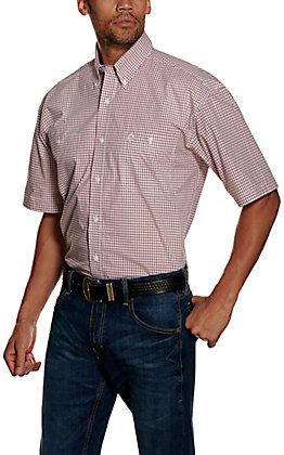 Wrangler George Strait Men's Pink Plaid Short Sleeve Western Shirt