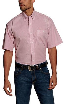 Wrangler George Strait Men's Pink Geo Print Short Sleeve Western Shirt