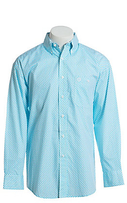 George Strait by Wrangler Men's Paisley Turquoise Long Sleeve Western Shirt