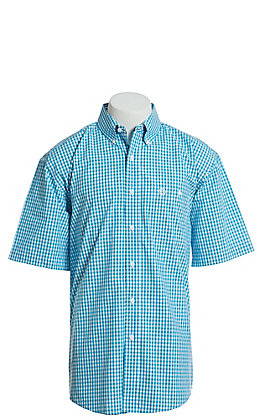 George Strait by Wrangler Men's Turquoise And White Plaid Short Sleeve Western Shirt