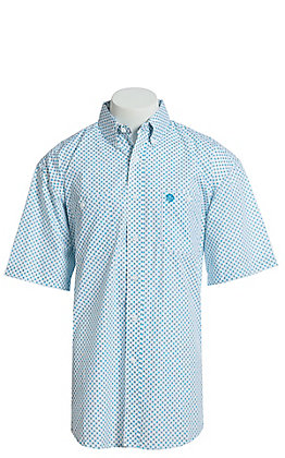 George Strait by Wrangler Men's White With Turquoise Medallion Print Short Sleeve Western Shirt