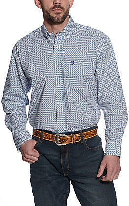 Wrangler George Strait Men's White with Turquoise Starburst Print Long Sleeve Western Shirt