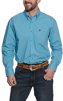 Wrangler George Strait Men's Turquoise and Purple Plaid Long Sleeve Western Shirt