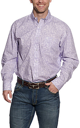 Wrangler George Strait Men's Purple Paisley and Stripes Long Sleeve Western Shirt