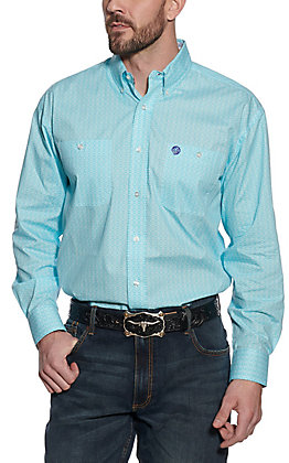 Wrangler George Strait Men's Turquoise Geo Print Long Sleeve Western Shirt