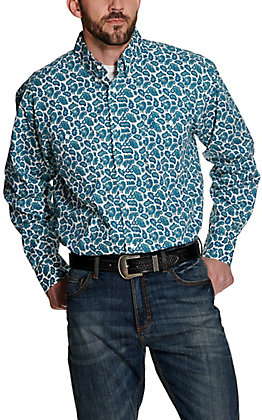 Wrangler George Strait Men's White with Teal Paisley Print Relaxed Long Sleeve Western Shirt