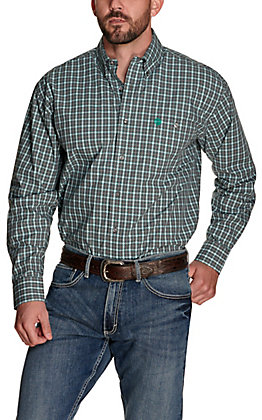 Wrangler George Strait Men's Grey with Teal Plaid Performance Relaxed Long Sleeve Western Shirt