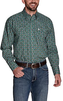 Wrangler George Strait Men's Troubadour Teal Medallion Print Relaxed Long Sleeve Snap Western Shirt