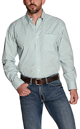 Wrangler George Strait Men's White with Turquoise & Teal Plaid Performance Relaxed Long Sleeve Western Shirt