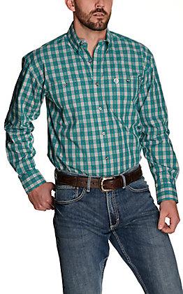 Wrangler George Strait Men's Turquoise Plaid Performance Relaxed Long Sleeve Western Shirt