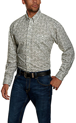 Wrangler George Strait Men's Grey Paisley Print Long Sleeve Western Shirt