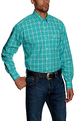 Wrangler George Strait Men's Turquoise Plaid Long Sleeve Western Shirt