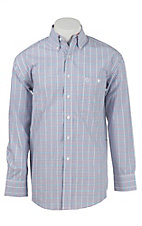 George Strait by Wrangler L/S Men's Blue, Red, Turquoise, and White Check Shirt - Big & Tall