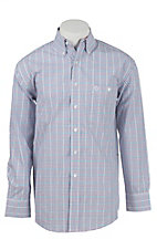 George Strait by Wrangler L/S Men's Blue, Red, Turquoise, and White Check Shirt