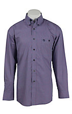 George Strait by Wrangler L/S Men's Lavender and Red Print Shirt - Big & Tall