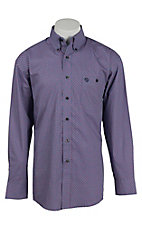 George Strait by Wrangler L/S Men's Lavender and Red Print Shirt