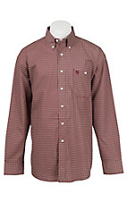 George Strait by Wrangler L/S Men's Burgundy Mini Print Western Shirt