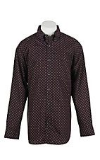 George Strait by Wrangler L/S Men's Wine and Black Print Western Shirt