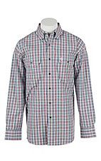George Strait by Wrangler L/S Men's Wine, Navy, and White Plaid Western Shirt