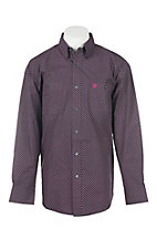 George Strait by Wrangler Mens's Black with Magenta Mini Circles L/S Western Shirt