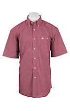 George Strait by Wrangler Men's Red and White Weave S/S Western Shirt