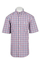 George Strait by Wrangler Men's Blue, Red, and White Gingham S/S Western Shirt