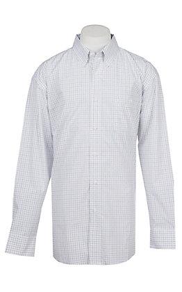George Strait by Wrangler Men's White Mini Check Western Shirt