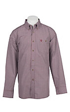George Strait by Wrangler Men's Wine Plaid Western Shirt
