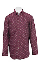 George Strait by Wrangler Men's Wine Medallion Western Shirt