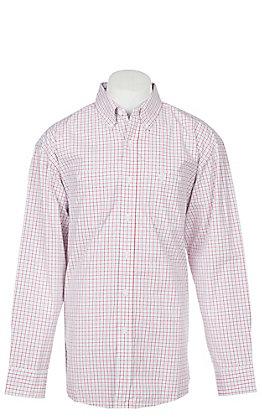George Strait by Wrangler Men's Red Plaid Long Sleeve Western Shirt