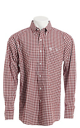 George Strait by Wrangler Men's Burgundy And White Check Long Sleeve Western Shirt