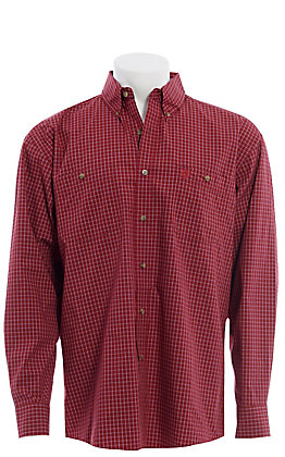 George Strait by Wrangler Men's Burgundy Plaid Long Sleeve Western Shirt