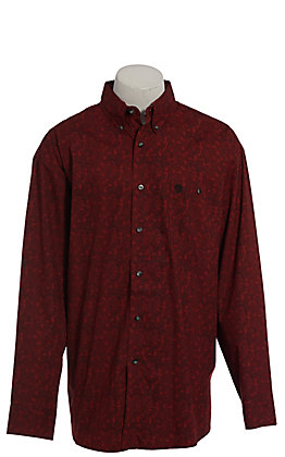 George Strait by Wrangler Men's Red Paisley Long Sleeve Western Shirt