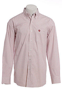 George Strait by Wrangler Men's Red Plaid Long Sleeve Western Shirt